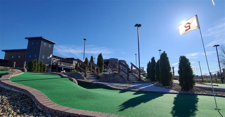 mini golf course green with birdies in the distance