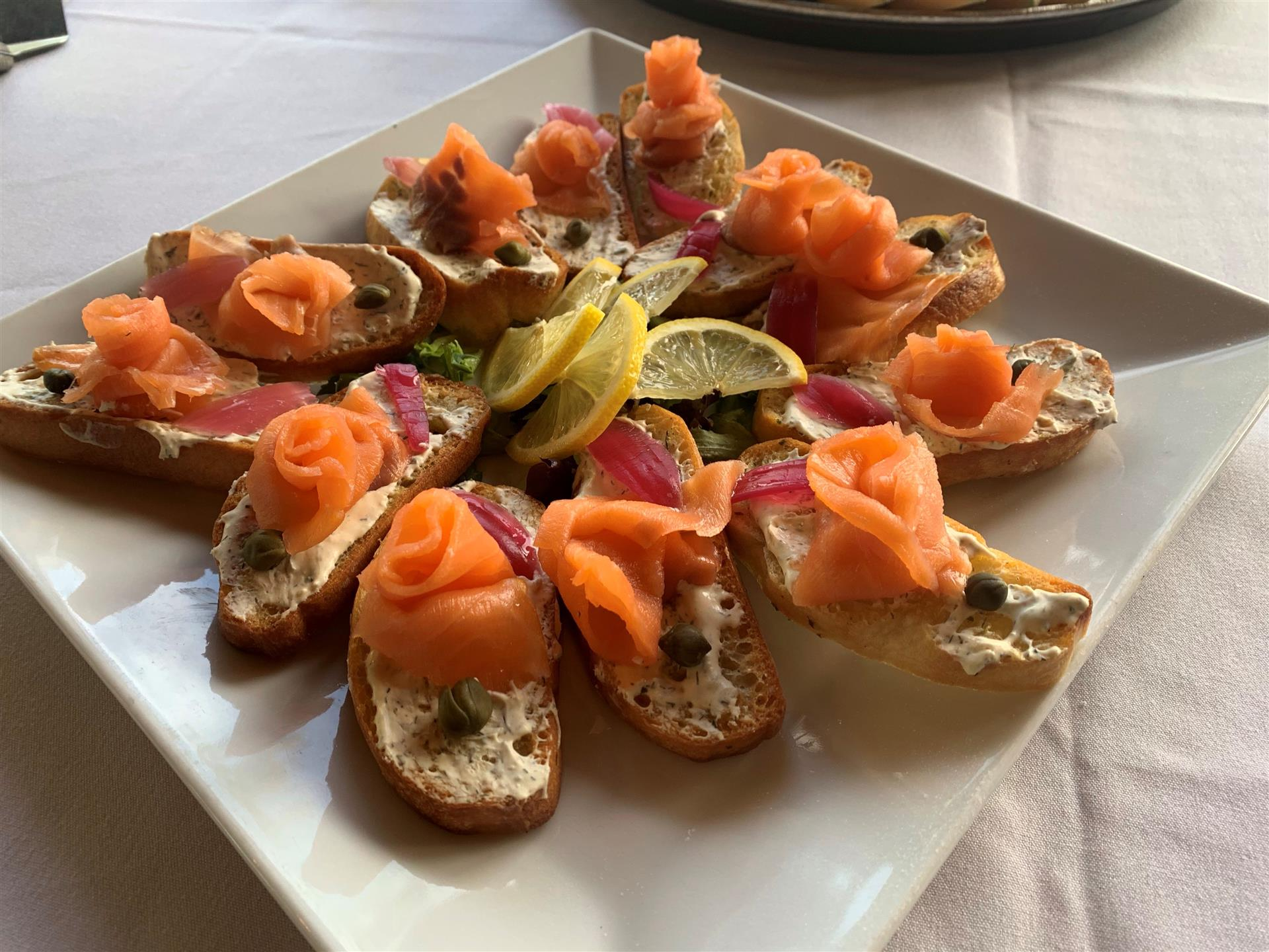 Smoked salmon canapes, capers, catering, weddings
