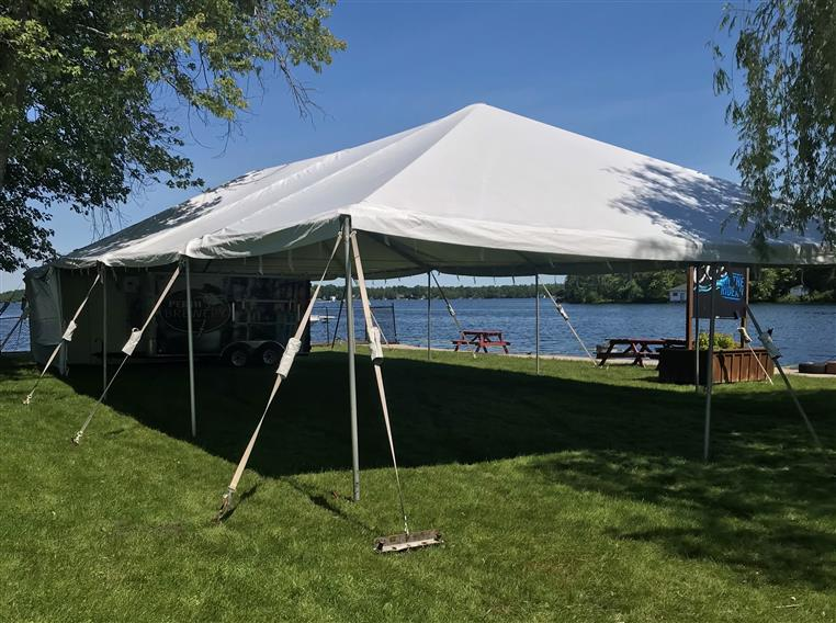 big white tent for outdoor dining