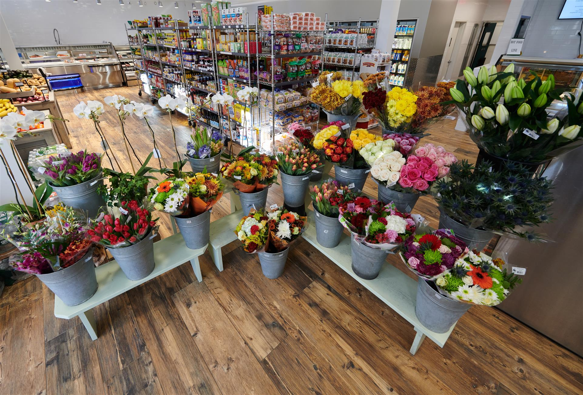 flowers being displayed in store