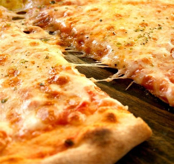sliced cheese pizza pie