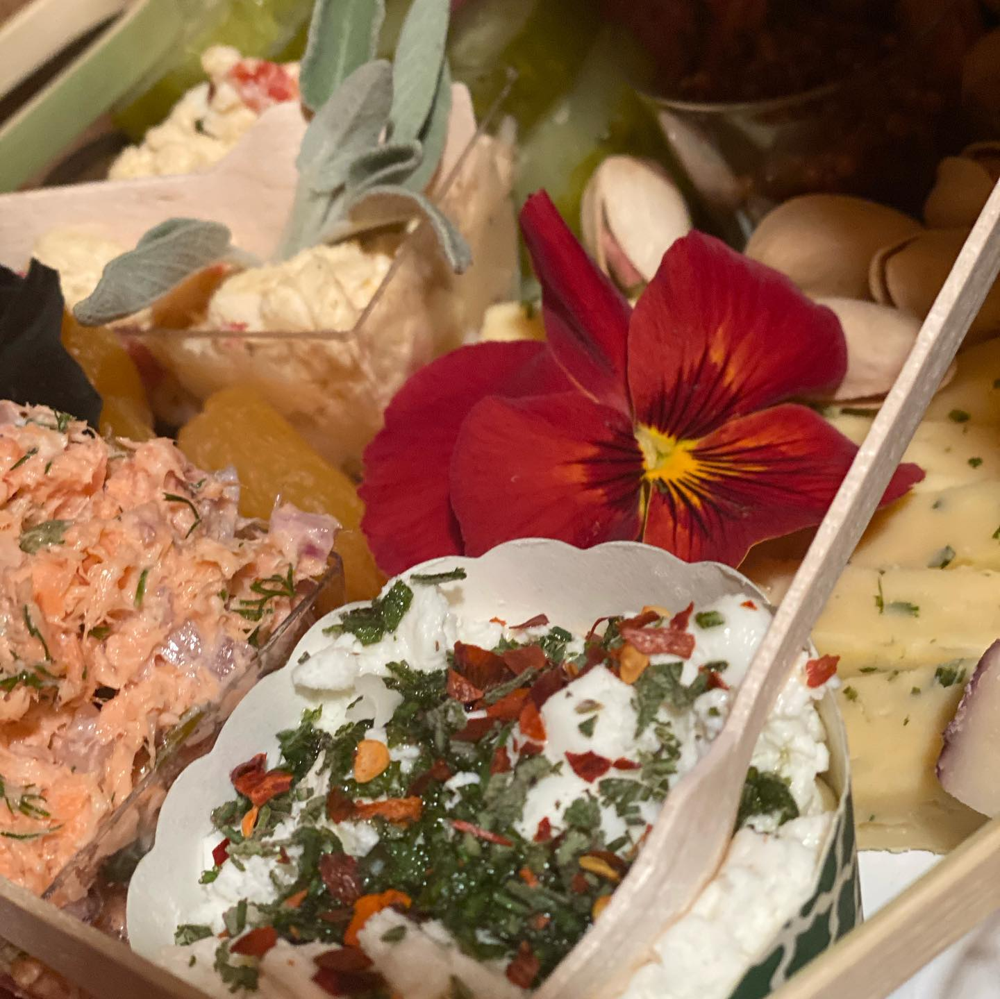 assorted dips, cheeses and nuts