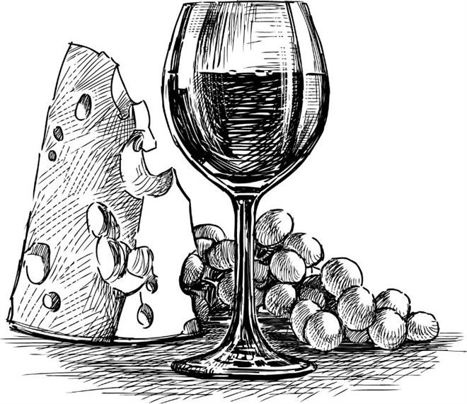 sketch of cheese, grapes and a glass of wine