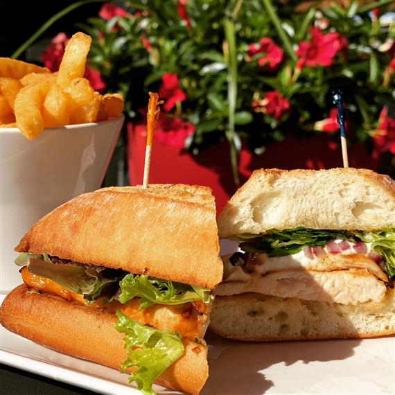 chicken panini sandwich served with fries outside on the patio
