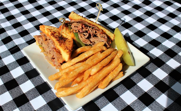 Tri Tip Sandwich with a side of fries