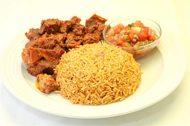 beef, rice and pico