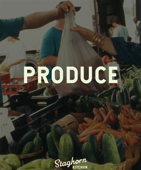 """""""Produce"""": small produce market with fresh vegetables"""