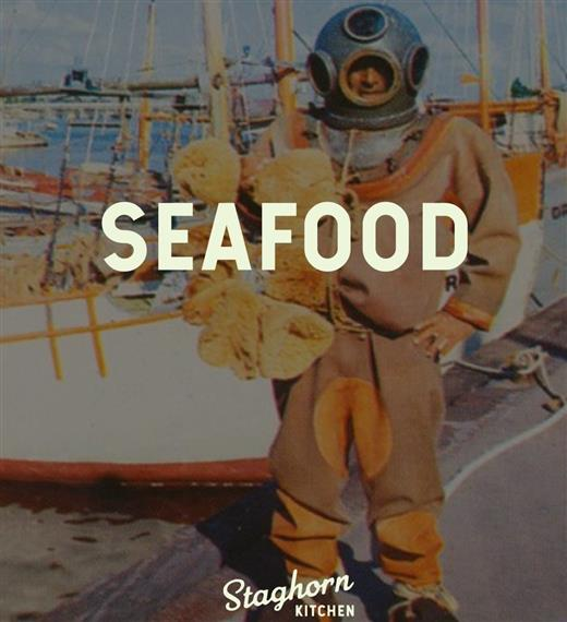 """""""Seafood"""": man dressed in an old fashioned diving suit"""