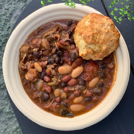chili with a biscuit