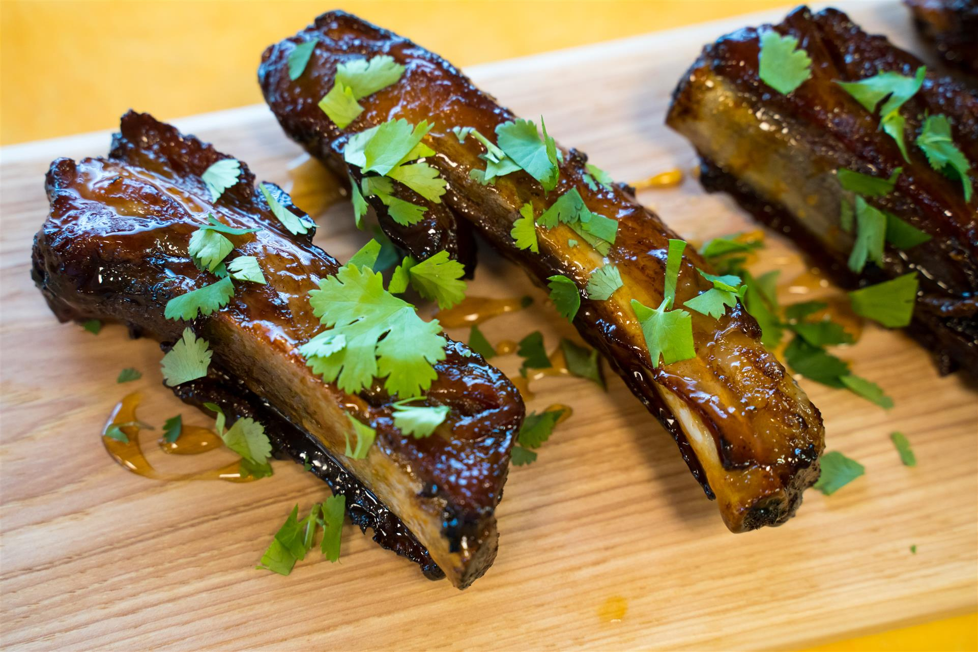 assorment of Ribs topped with garnish