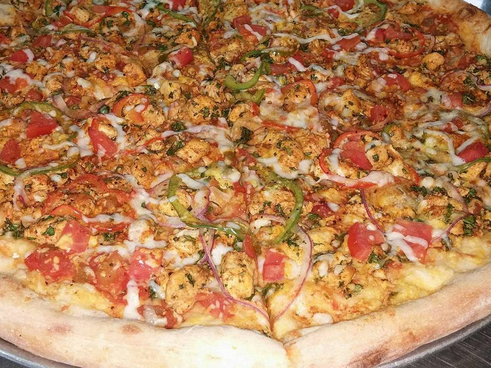 pizza with assorted toppings