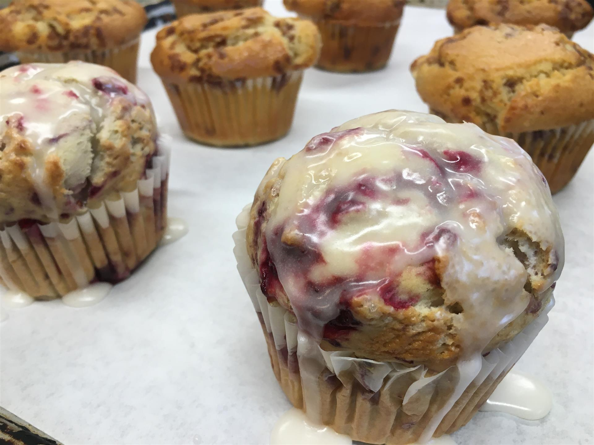 cranberry muffins on a tray