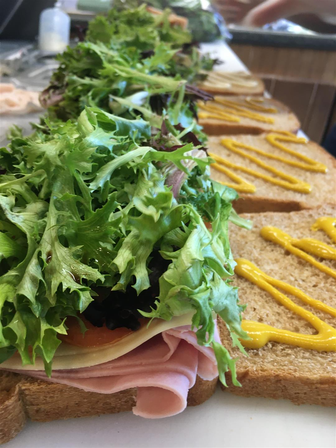 turkey sandwiches with lettuce and mustard