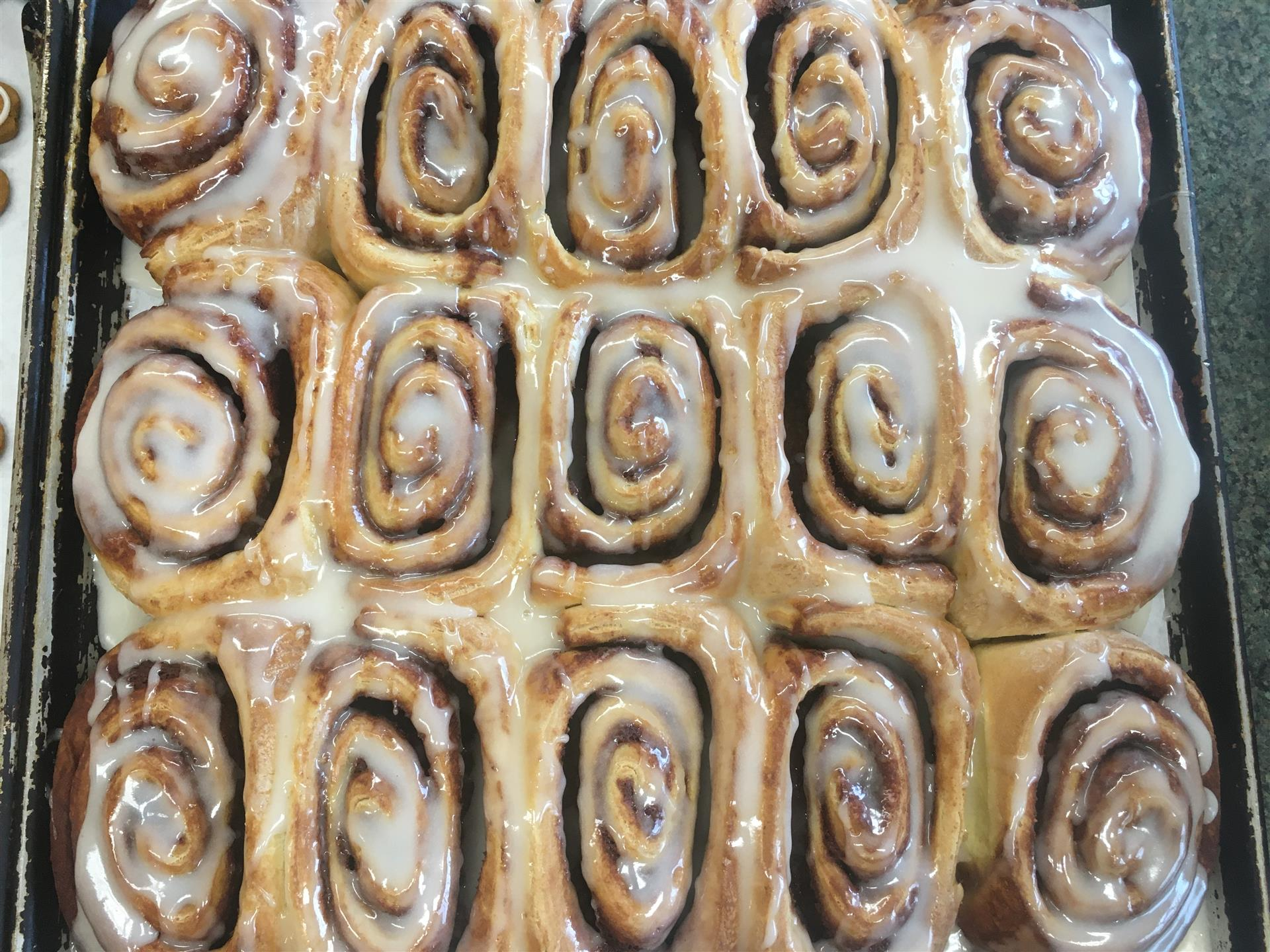 tray of fresh cinnamon rolls