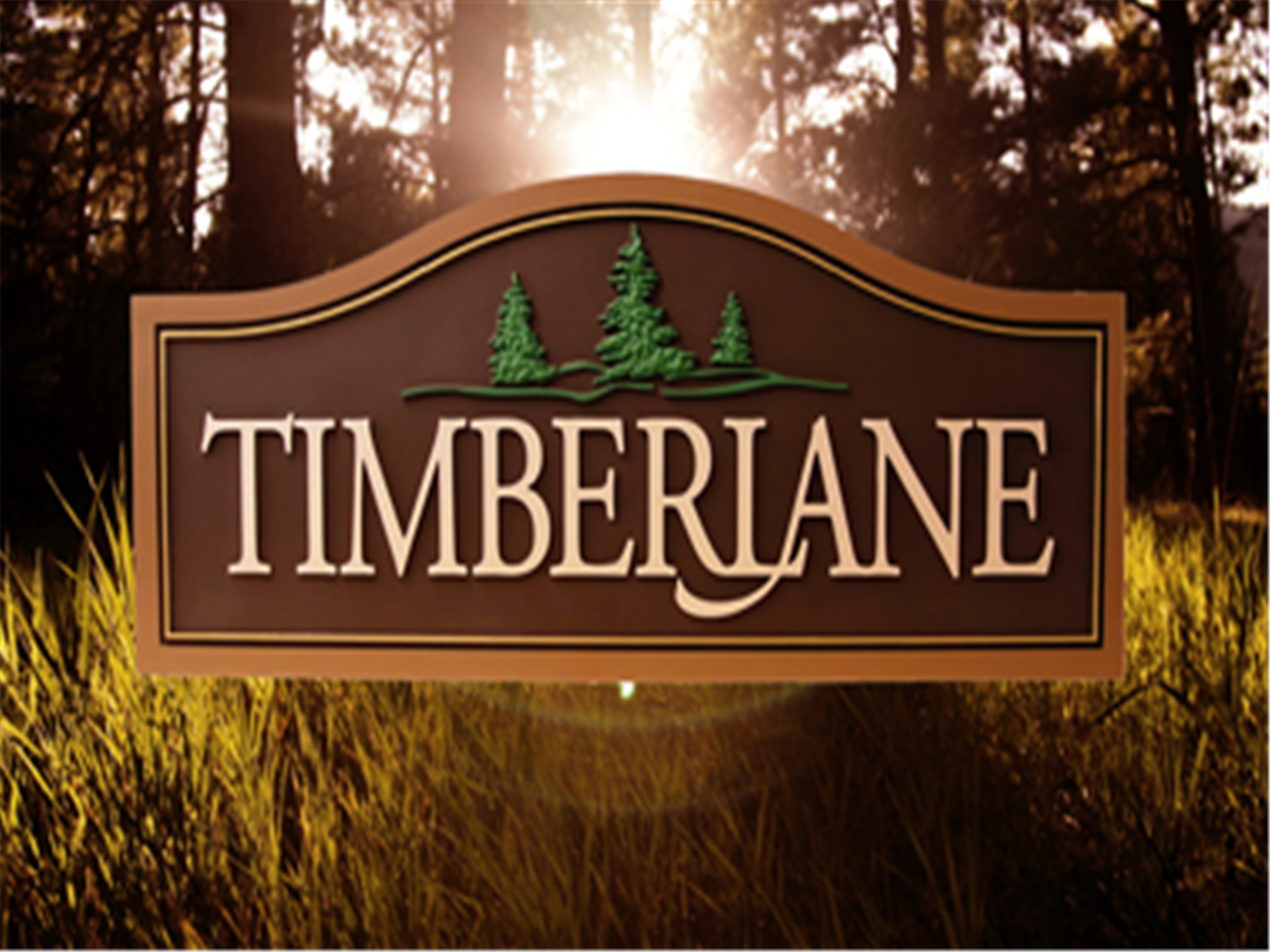 """grass and trees background with a rectangular sign in the middle with 3 mini trees and the word """"TIMBERLANE"""" below"""