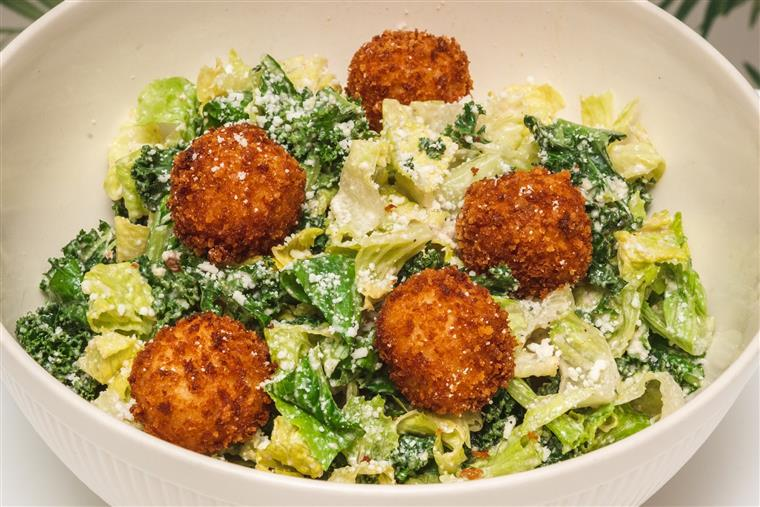 kale cesar with bacalao croutons