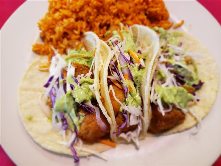 fried fish tacos with rice