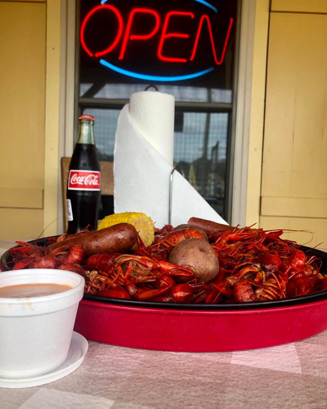 boiled crawfish with corn and mashed potatoes
