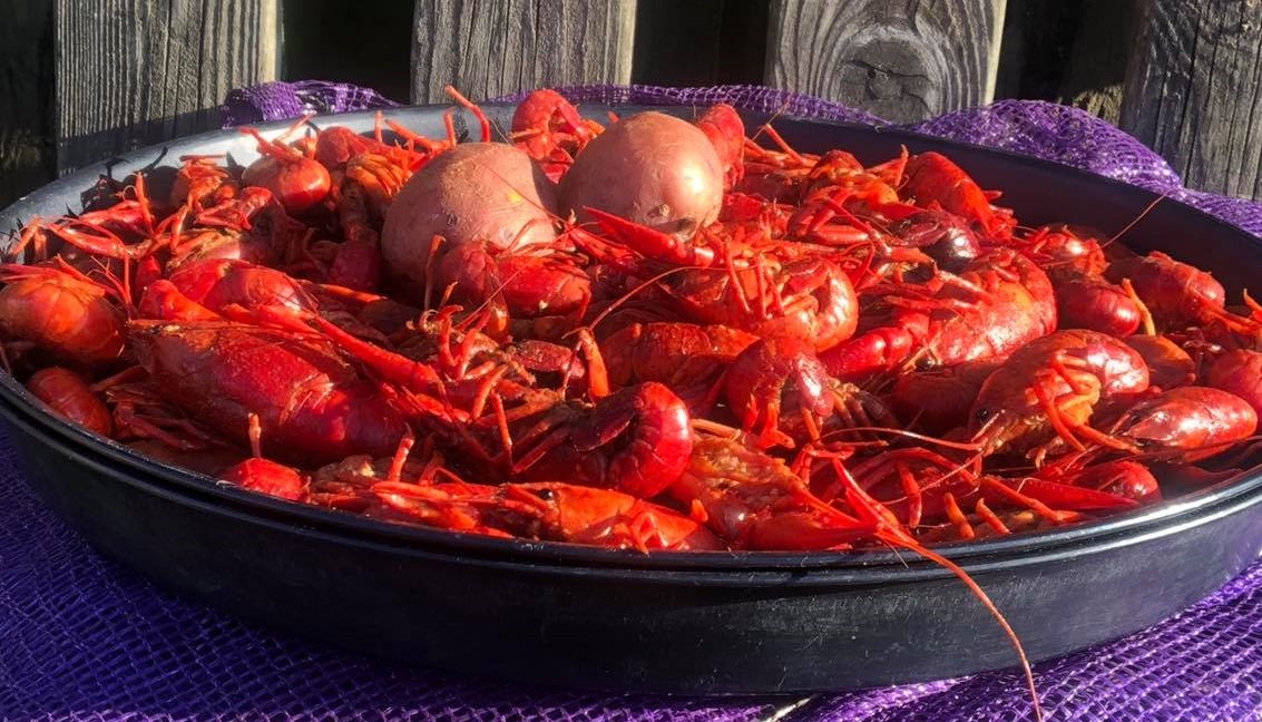 boiled crawfish platter with potatoes