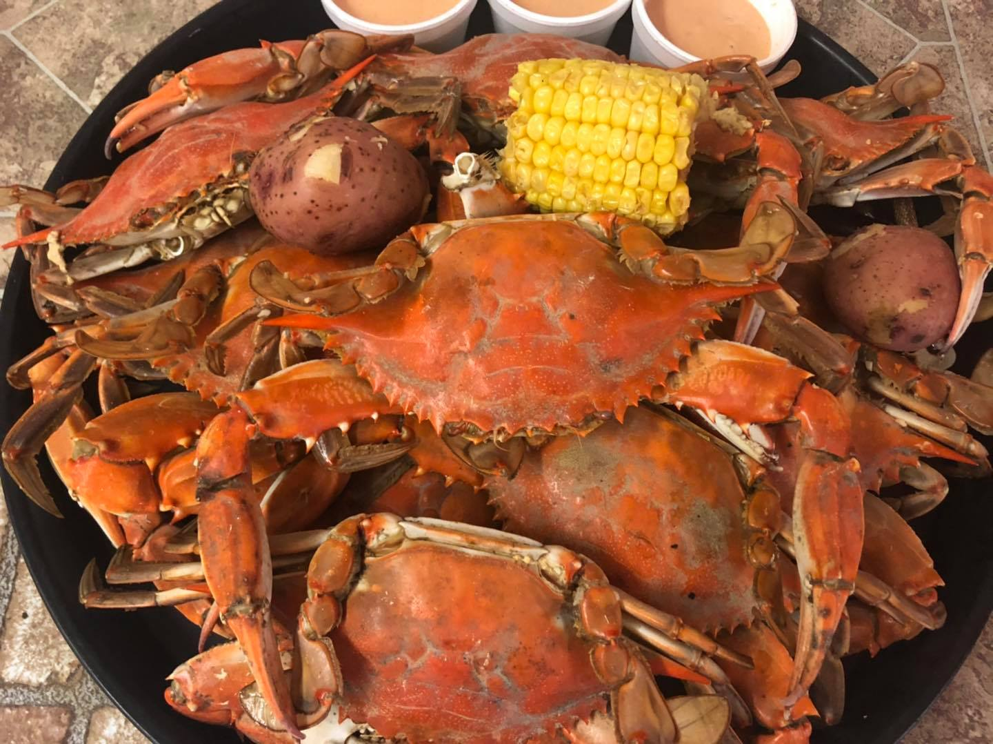 boiled crab with corn and potatoes