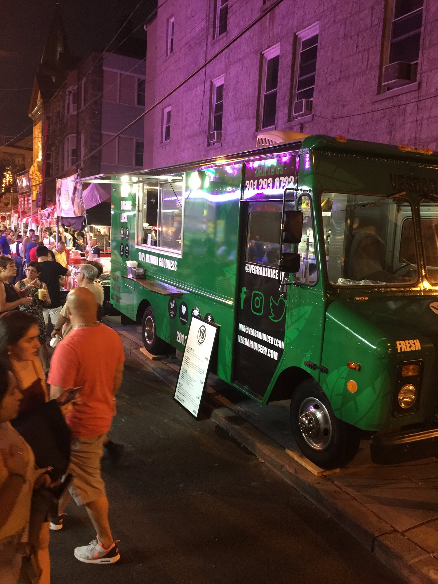food truck outside at night for an event