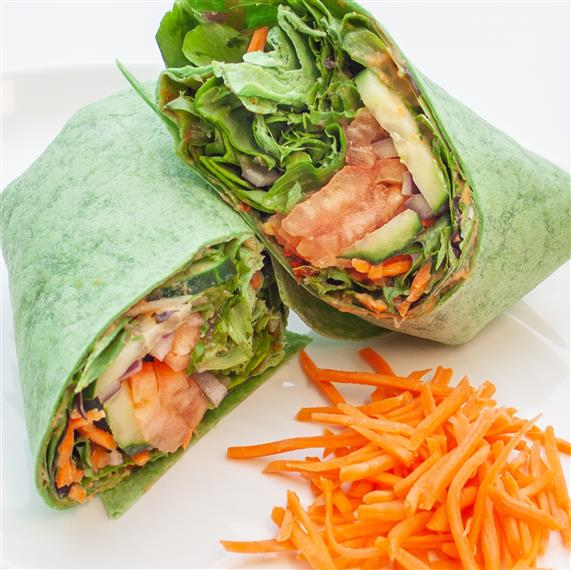 hummus wrap with shredded carrots