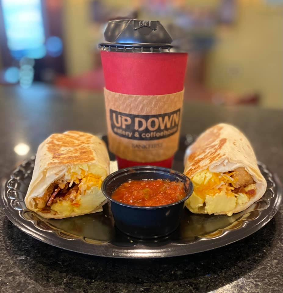 breakfast burrito with a cup of coffee