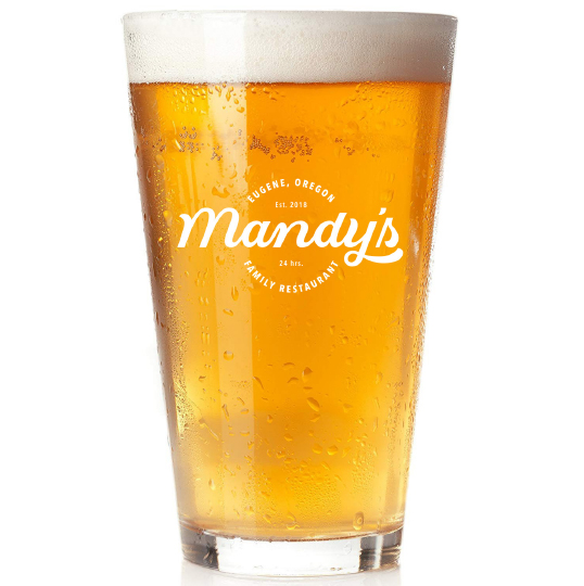 pint of beer with mandy's logo