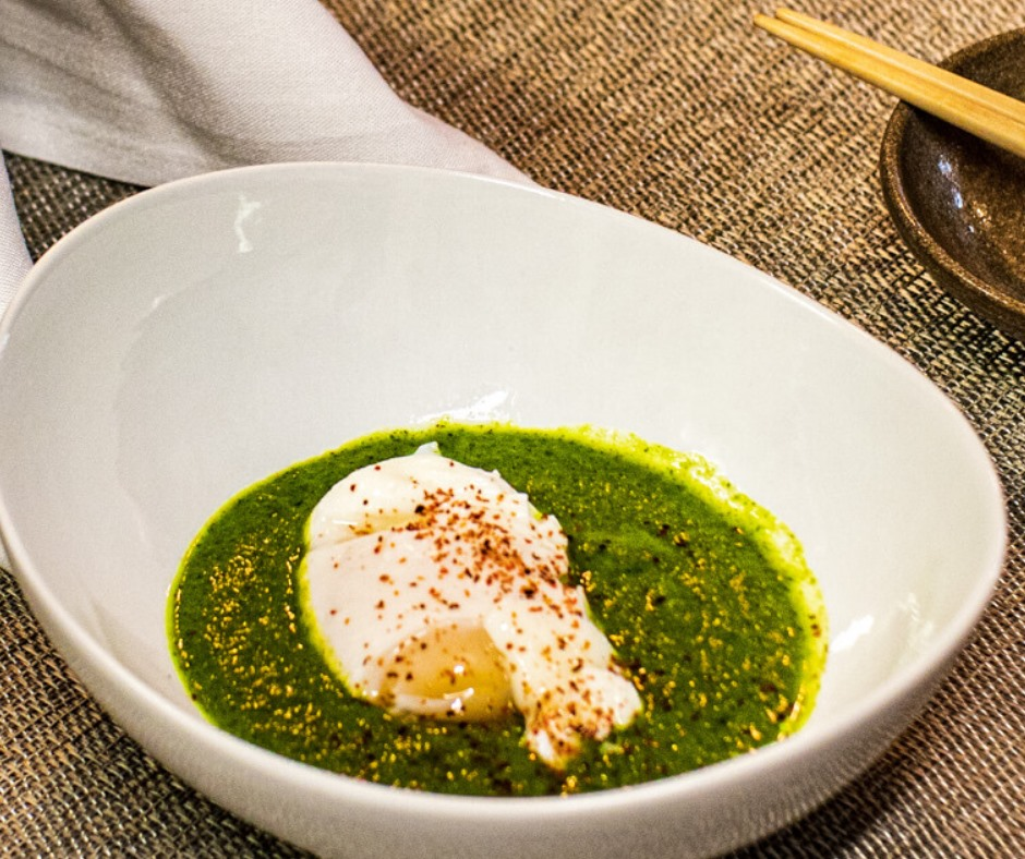 cold soup and egg