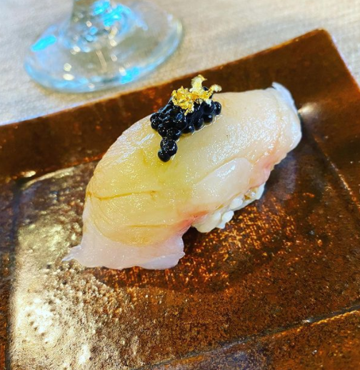 sashimi appetizer with cavier