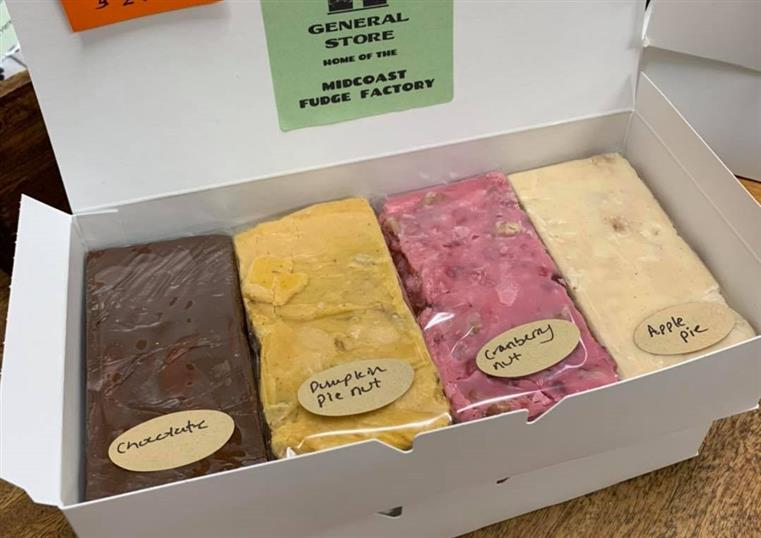 box of homemade fudge in assorted colors