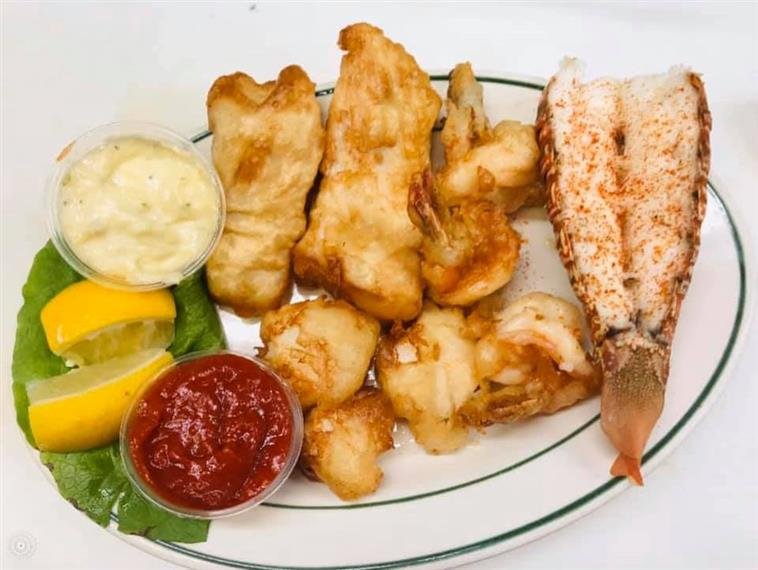 Seafood Platter with Lobster, Shrimp, and dipping sauces