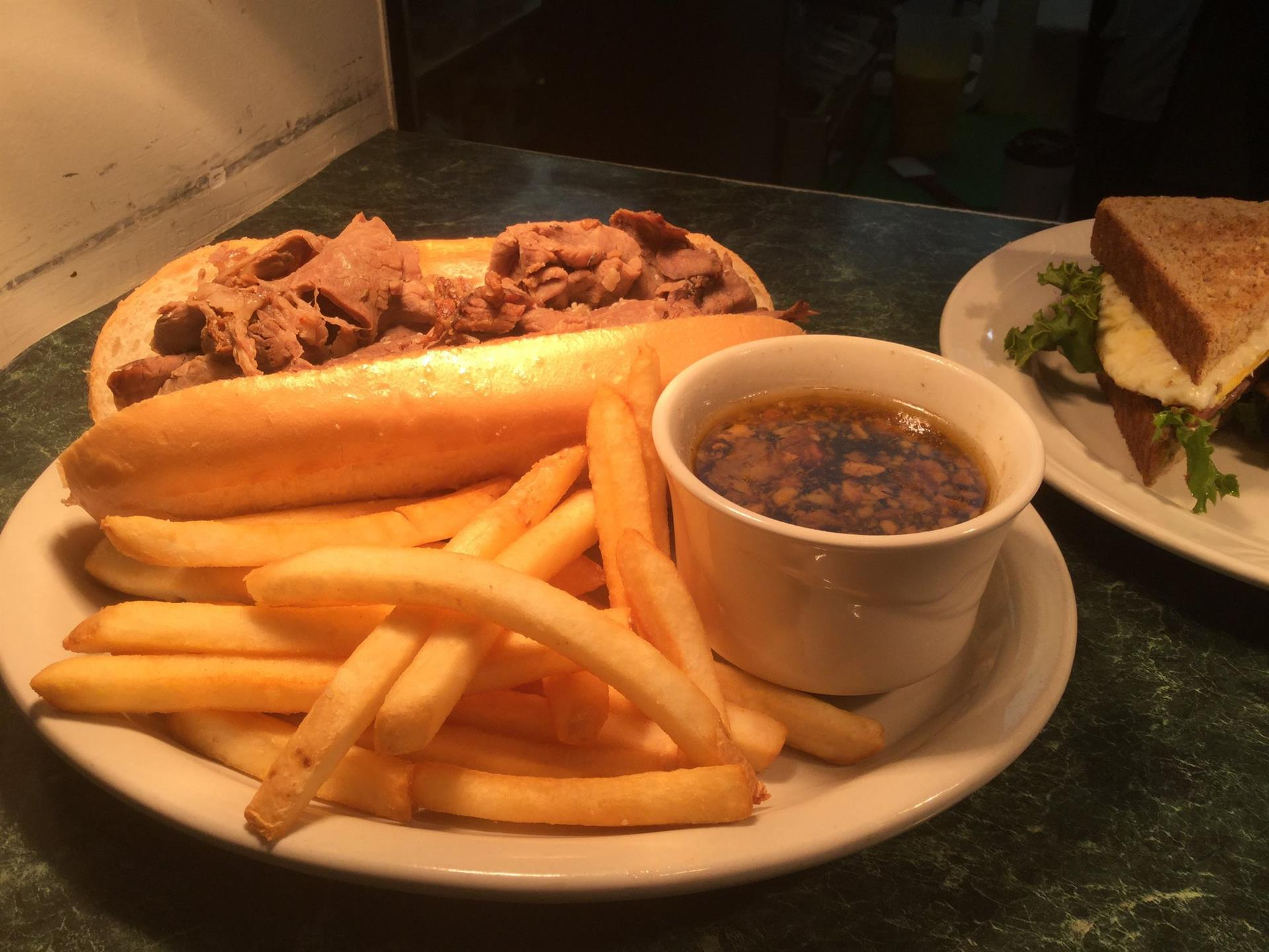 french dip sandwich with fries