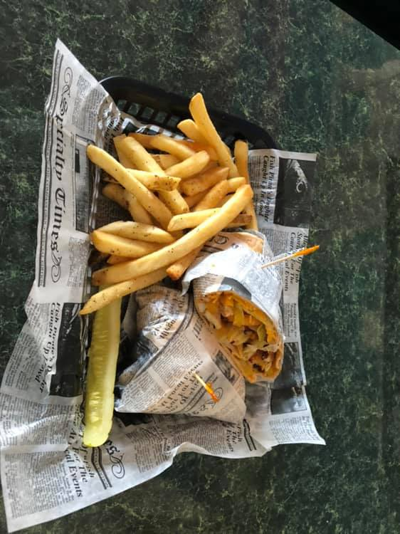 chicken wrap with fries and pickles
