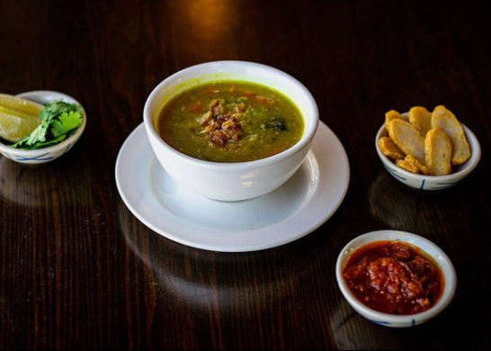 Burmese Pea Soup with a side of bread and dipping sauce