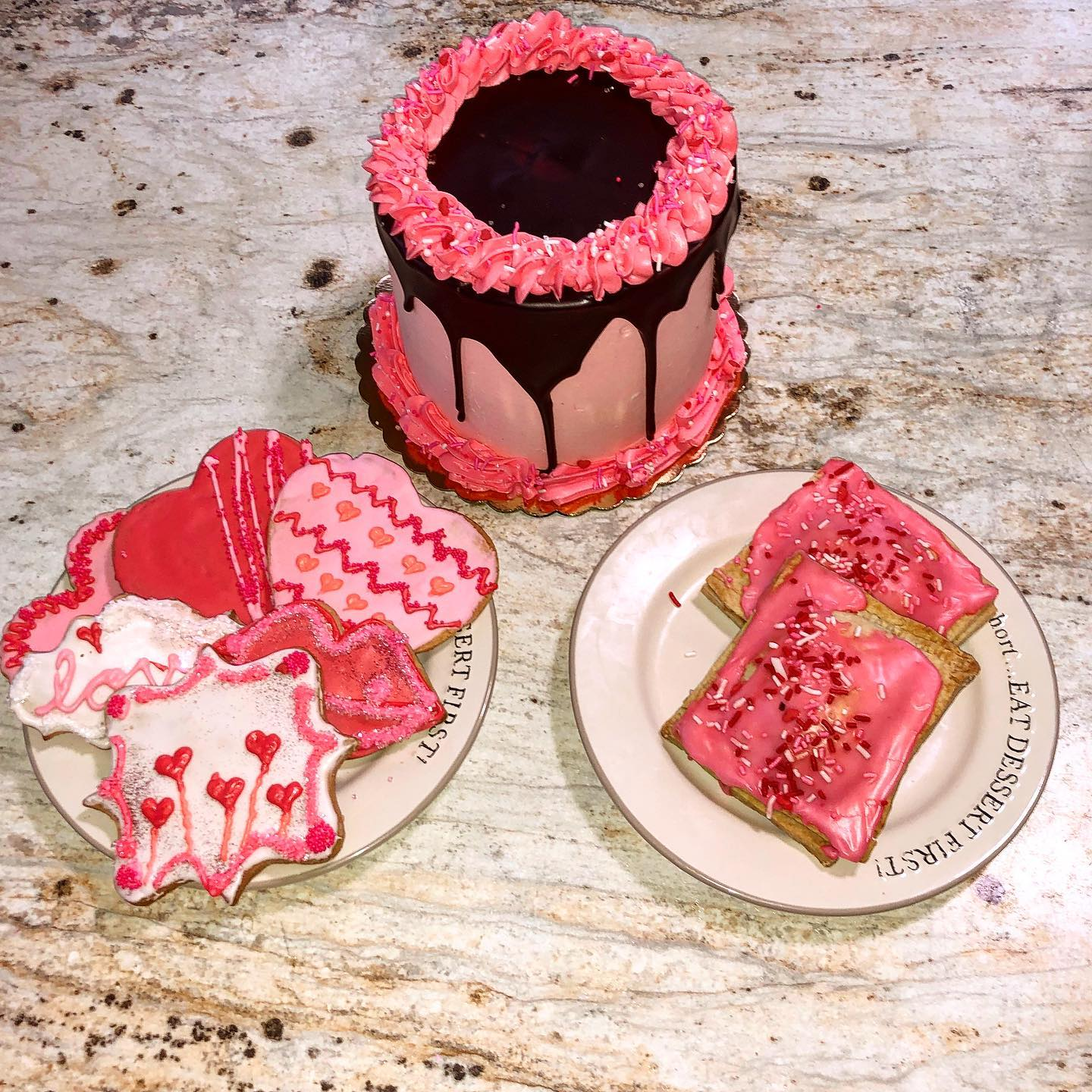 valentine's day themed pastries and cakes
