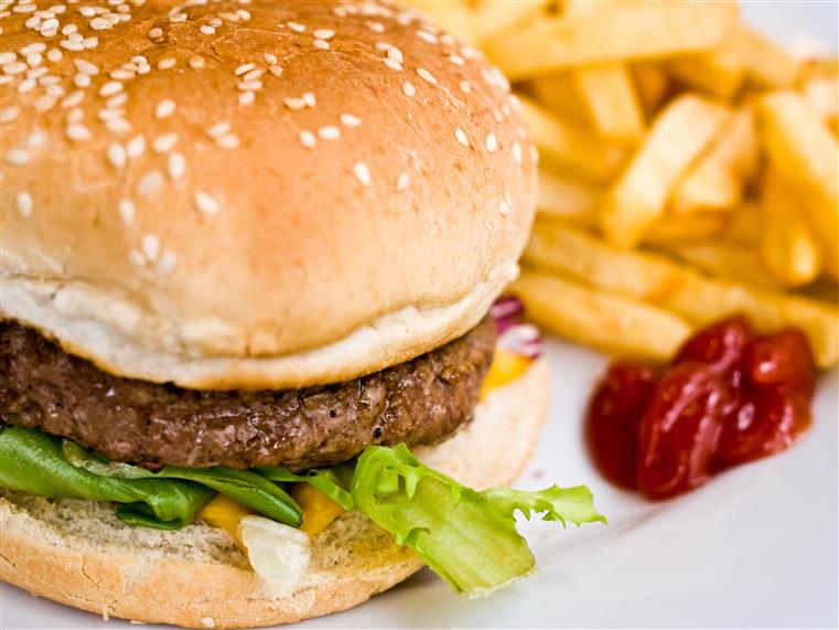 burger with ketchup and fries