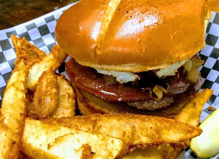 BBQ cheeseburger with tomato and onion, side of fries