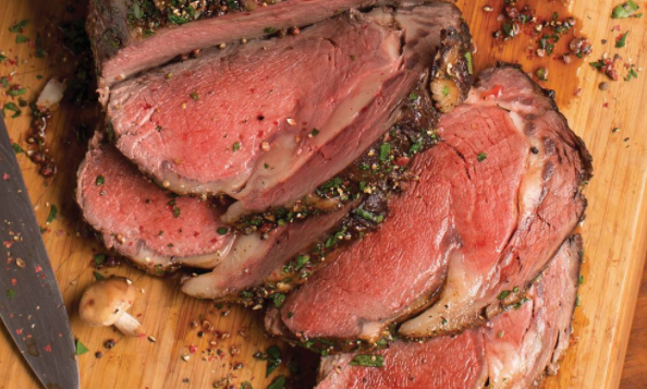 seasoned sliced prime rib