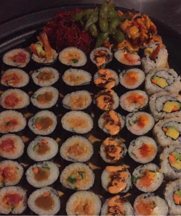 tray fo assorted sushi