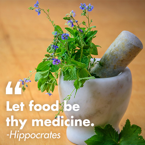 mortar and pestle that says let food be thy medicine - hippocrates