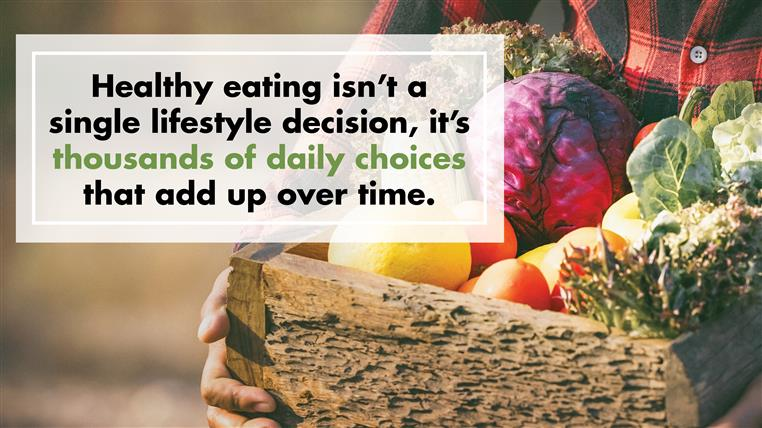 """basket of vegetables with quote that says """"Healthy eating isn't a single lifestyle decision, it's thousands of daily choices that add up over time."""""""