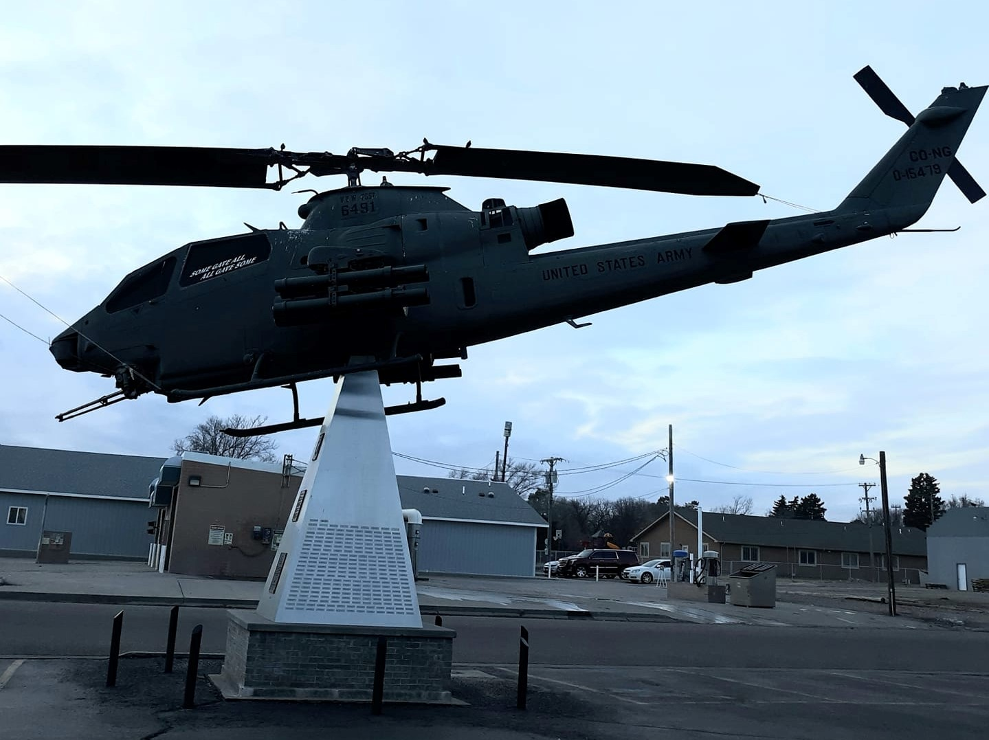 helicopter decor in parking lot