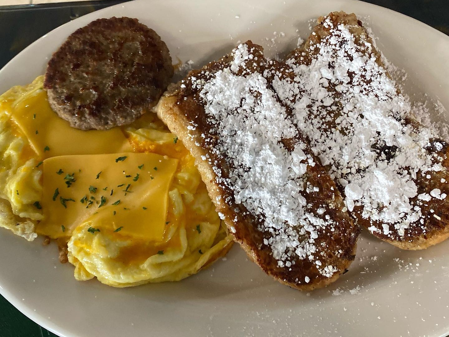 eggs with sausage and toast