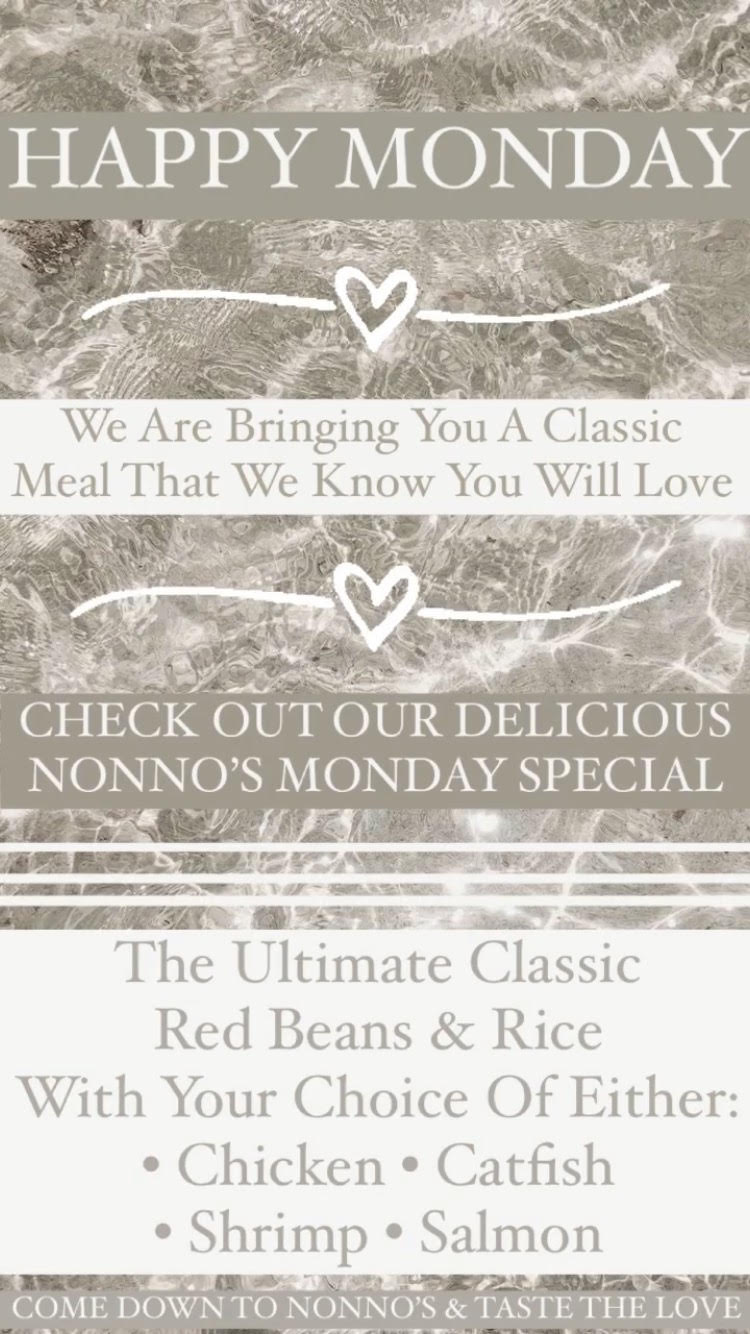 HAPPY MONDAY ✨ We're bringing you a classic meal we know you will love here at Nonno's ✨ . ✨The Ultimate Classic Nonno's Red Beans And Rice. With Your Choice Of Either • Chicken • Catfish • Shrimp • Salmon ✨ . The cravings got you? Nonno's has you covered for delicious and authentic Cajun Cuisine and Fresh Homemade Pastries. . Nonnos Cajun Cuisine and Pastries is located on 2025 North Claiborne Avenue, New Orleans. We offer catering and serve breakfast all-day. . Food so good you can almost taste the love. This is Nonno's promise to you 💥 . #tastethelove