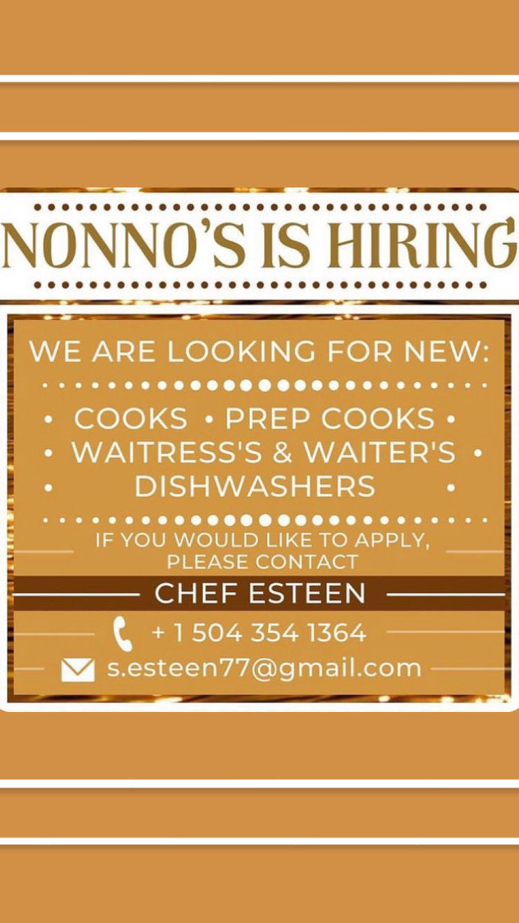 We are looking for new : • Cooks • • Prep cooks • • Waitress's & Waiter's • • Dishwashers • . If you would like to apply, please contact Chef Esteen @ 📞- +1 504 345 1364 📧 - s.esteen77@gmail.com
