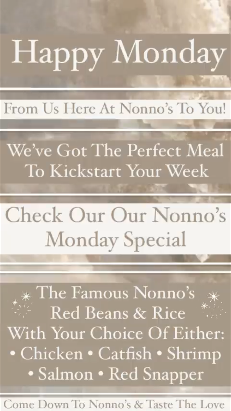 ✨ Happy Monday ✨ We've got the perfect meal to kickstart your week! . Check out our Nonno's Monday Special ✨ . The Famous Nonno's Red Beans and Rice With Your Choice Of Either: • Salmon • Chicken • Catfish • Shrimp • Red Snapper . The cravings got you? Nonno's has you covered for delicious and authentic Cajun Cuisine and Fresh Homemade Pastries. . Nonnos Cajun Cuisine and Pastries is located on 2025 North Claiborne Avenue, New Orleans. We offer catering and serve breakfast all-day. . Food so good you can almost taste the love. This is Nonno's promise to you 💥 .