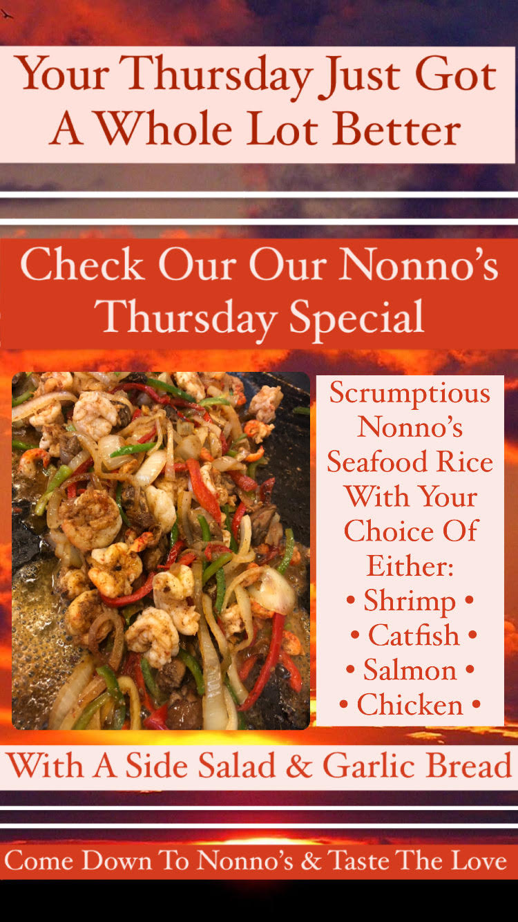 Your Thursday just got a whole better 🔥 Check out our Nonno's Special🔥 . Scrumptious Nonno's Seafood Rice with Your Choice Of Either • Chicken • Catfish • Shrimp • Salmon • And A Side Salad & Garlic Bread 🔥 . The cravings got you? Nonno's has you covered for delicious and authentic Cajun Cuisine and Fresh Homemade Pastries. . Nonnos Cajun Cuisine and Pastries is located on 2025 North Claiborne Avenue, New Orleans. We offer catering and serve breakfast all-day. . Food so good you can almost taste the love. This is Nonno's promise to you 💥 .