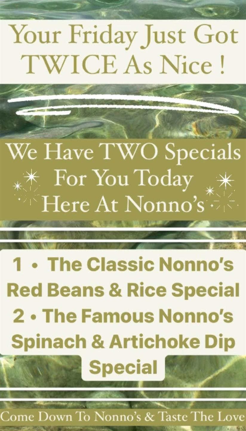 Your Friday Just Became TWICE as Nice! We Have TWO Specials For You Today Here At Nonno's ✨ . 1 • The Classic Nonno's Red Beans & Rice • 2• The Famous Nonno's Spinach & Artichoke Dip • . The cravings got you? Nonno's has you covered for delicious and authentic Cajun Cuisine and Fresh Homemade Pastries. . Nonnos Cajun Cuisine and Pastries is located on 2025 North Claiborne Avenue, New Orleans. We offer catering and serve breakfast all-day. . Food so good you can almost taste the love. This is Nonno's promise to you 💥