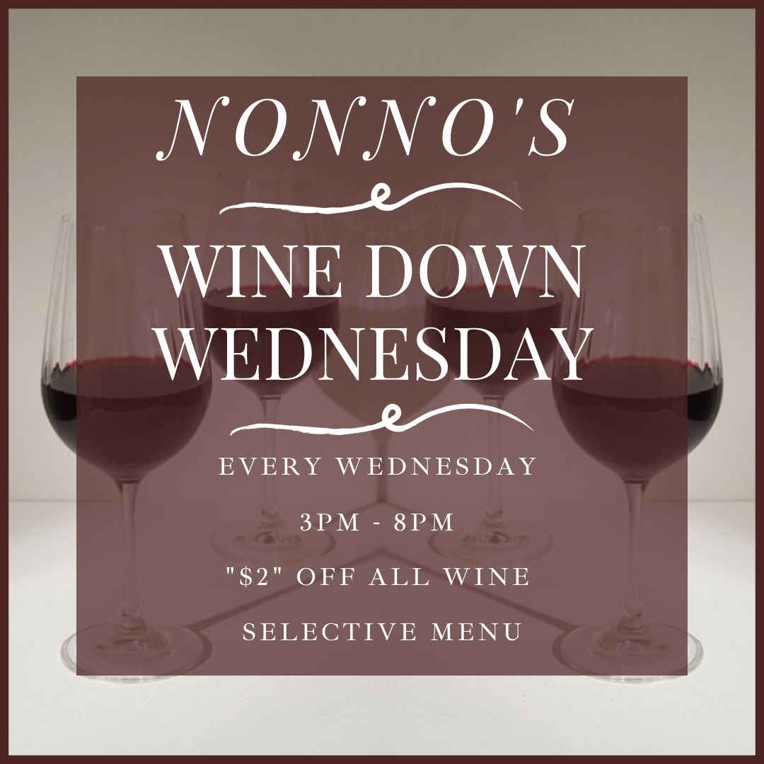 NONNO'S WINE DOWN WEDNESDAY 🍷 . The perfect mid week pick-me up 🍷Kick back, relax and enjoy our selection of delicious wines at $2 off accompanied by a selective Nonno's menu. . The cravings got you? Nonno's has you covered for delicious and authentic Cajun Cuisine and Fresh Homemade Pastries. . Nonnos Cajun Cuisine and Pastries is located on 2025 North Claiborne Avenue, New Orleans. We offer catering and serve breakfast all-day. . Food so good you can almost taste the love. This is Nonno's promise to you 💥
